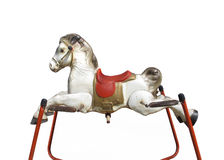 Old child's spring hobby horse isolated Stock Images