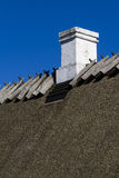 Old chimney. On thatched roof Stock Images