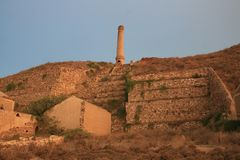 THE OLD CHIMNEY. Memories of what was once a mining complex stock images