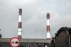 Old chimneys Silesia. Nikiszowiec Katowice Stock Photo