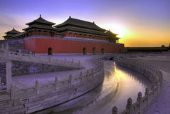 Old china architurecture in Be. Ijing with sunset Royalty Free Stock Photo