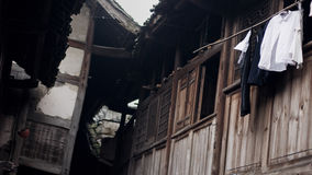 Old China Town tile-roofed house. Bamboo tower wooden floor corner Royalty Free Stock Images