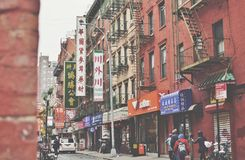 Old Chinatown New York Bowery and Pell Street Lower East Side NYC Streets City stock photography