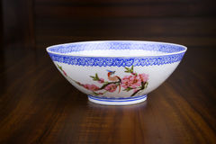 Old chinese bowl with peach flower painting Royalty Free Stock Photo