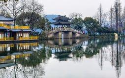 Old Chinese Bridge West Lake Reflection Hangzhou Zhejiang China Royalty Free Stock Photos