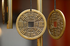 Old chinese bronze bell with hieroglyphs. Royalty Free Stock Photography