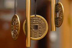 Old chinese bronze bell with hieroglyphs. Royalty Free Stock Images