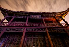 Old Chinese Building at night Stock Photos