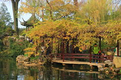Old chinese classical corridor and architecture at liuyuan garden at autumn Royalty Free Stock Photo