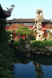 Old chinese classical Rockery and architecture at liuyuan garden at autumn Stock Photos