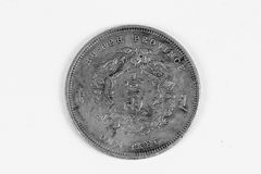 Old Chinese coin. Old Chinese silver coin isolated over white Royalty Free Stock Photography