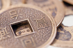 Old chinese coin close up Stock Photo