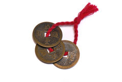 Old Chinese Coins. A photo taken on some old chinese coins tied in a string Stock Photo
