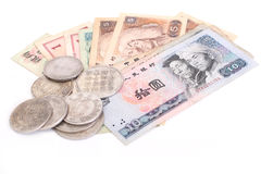 Old Chinese coins and banknotes Royalty Free Stock Photos
