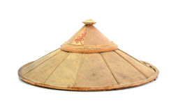 Old chinese conical straw hat isolated on white Stock Image