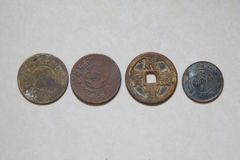 Old Chinese Copper Coin stock images
