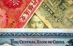 Old Chinese Currency. Old Chinese Currency notes, can be used as a wallpaper Royalty Free Stock Photos