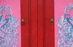 Old Chinese door at local temple Royalty Free Stock Image