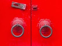 Old chinese door style, Chinese red door. Royalty Free Stock Photo