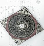 Old chinese feng shui compass. From above royalty free stock photography