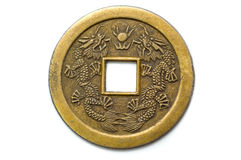 Old chinese feng shui lucky coin. For good fortune and success Royalty Free Stock Photography
