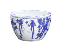 Old chinese flowers pattern style painting on the ceramic bowl,. Porcelain isolated white object Royalty Free Stock Image