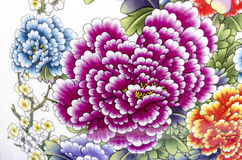 old chinese flowers pattern style painting on the ceramic bowl u Royalty Free Stock Photo
