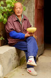Old Chinese Gent with Lunch, Kaifeng Royalty Free Stock Images