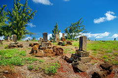 Old chinese grave headstones abandoned on Kauai Royalty Free Stock Image