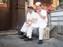 Old chinese inmigrants at Chinatown in New York Stock Images