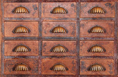 Old chinese medicine cabinet. Close up of a old chinese medicine cabinet stock photo