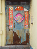 Old Chinese new year decorate on front door. Royalty Free Stock Images