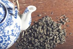 Old Chinese porcelain teapot Stock Images