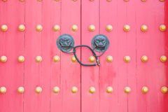 Old Chinese red door Royalty Free Stock Images