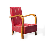 Old Chinese red silk upholstered chair Stock Photos