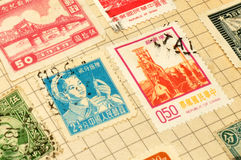 Old Chinese Stamps In Album Royalty Free Stock Photos