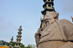 Old Chinese stone doll guarding Royal temple Royalty Free Stock Photo