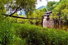 Old Chinese style hanging bridge Royalty Free Stock Images