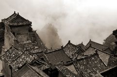 Aerial view of a wudang temple. Old chinese temple. black and white toned photo Royalty Free Stock Photo