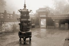 Old chinese temple. Black and white toned photo Royalty Free Stock Images