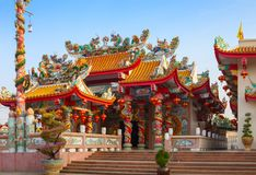 Old Chinese temple at sunny morning in Mae Sot, Tak Province, western Thailand.  stock photo
