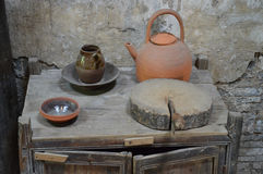 Old Chinese terracotta pottery. Traditional pottery used for eating and drinking. Picture taken May 2014 Stock Photo