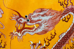 An old Chinese Vase, with hand painted Dragon design. Imperial Emperor Yellow Colour pottery Stock Photography