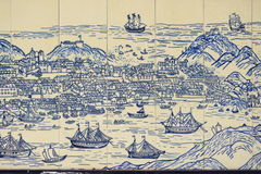 Old Chinese wall tiles depicting Macao island Stock Photos