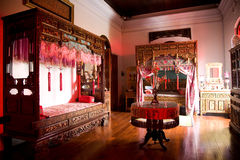 Old chinese wedding chamber. A old traditional chinese peranakan wedding bedroom Royalty Free Stock Photo