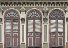 Old Chino-Portuguese windows. Image of old Chino-Portuguese windows (European Retro) architecture style in old town singapore Royalty Free Stock Photos