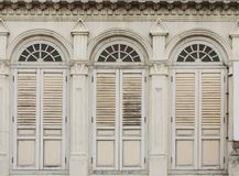 Old Chino-Portuguese windows. Image of old Chino-Portuguese windows (European Retro) architecture style in old town singapore Stock Photo