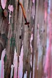 Old Chipped Paint Wall with Nail Stock Images