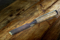 Old chisel in vintage wood tools Stock Image