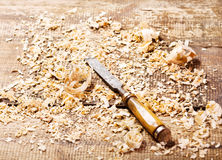 Old chisel. In a workshop royalty free stock photo